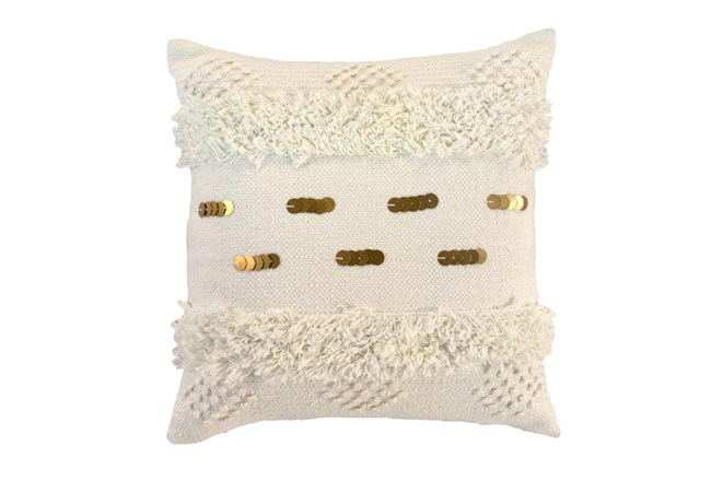 Accent Pillow-Ivory Bohemian Ruffle 22X22 - 360