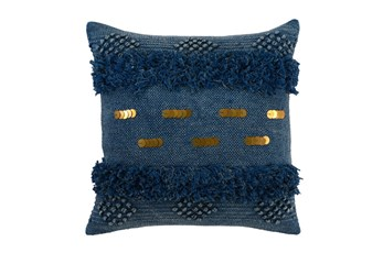 Accent Pillow-Denim Bohemian Ruffle 22X22