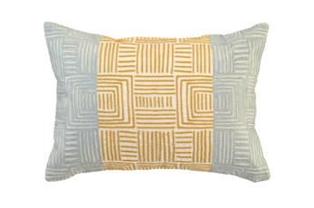 Accent Pillow-Aqua And Mustard Maze Work 20X14