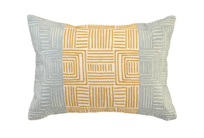 Accent Pillow-Aqua And Mustard Maze Work 20X14 - 360