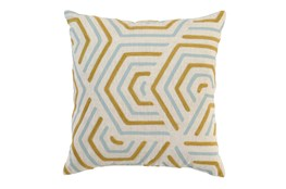 Accent Pillow-Aqua And Mustard Geometric 18X18