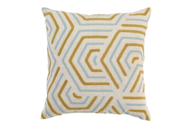 Accent Pillow-Aqua And Mustard Geometric 18X18 - 360
