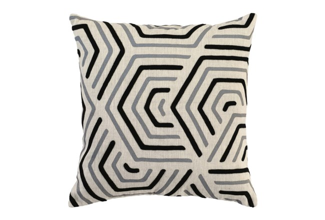 Accent Pillow-Black And Grey Geometric 18X18 - 360