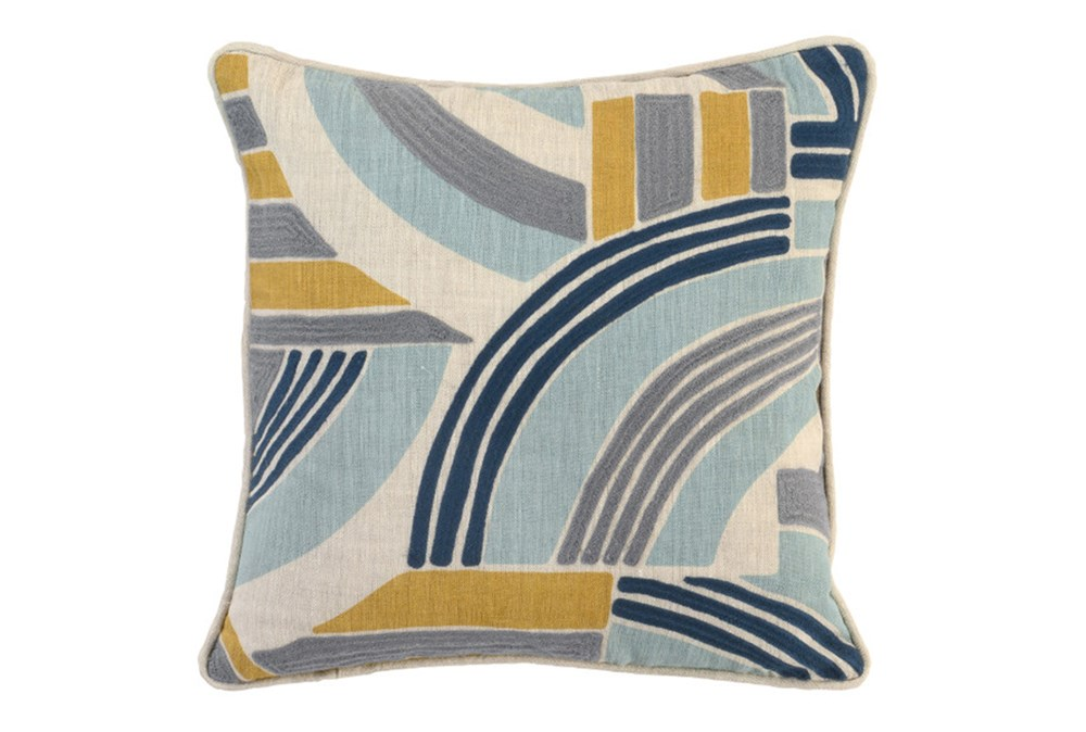 Accent Pillow-Aqua And Mustard Retro Swipe 18X18