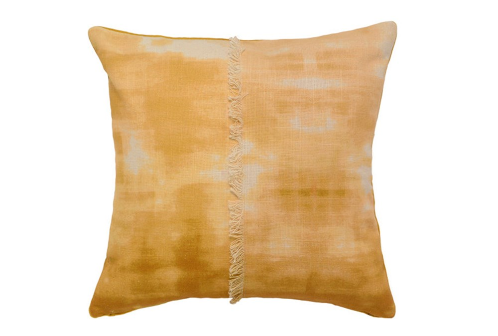 Accent Pillow-Mustard Tie Dye With Fringe 18X18