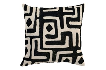 Accent Pillow-Black Batik Maze 18X18