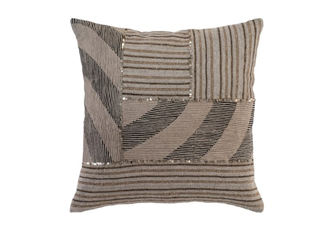 Accent Pillow-Taupe Mixed Media Patchwork 22X22 - 360