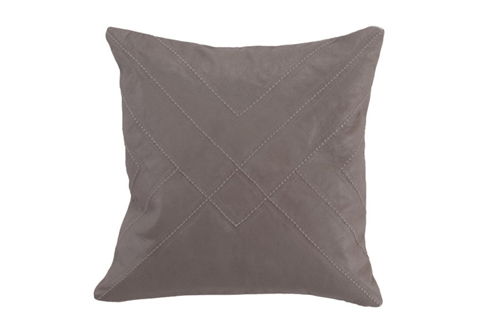 Accent Pillow-Taupe Leather With Stitching 18X18
