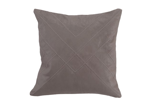 Accent Pillow-Taupe Leather With Stitching 18X18 - 360