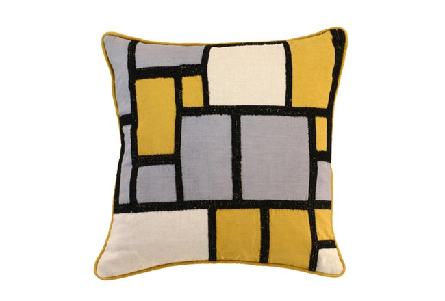 Accent Pillow-Mustard And Black Color Block 18X18 - 360