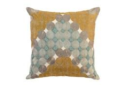 Accent Pillow-Aqua And Mustard Circles 22X22