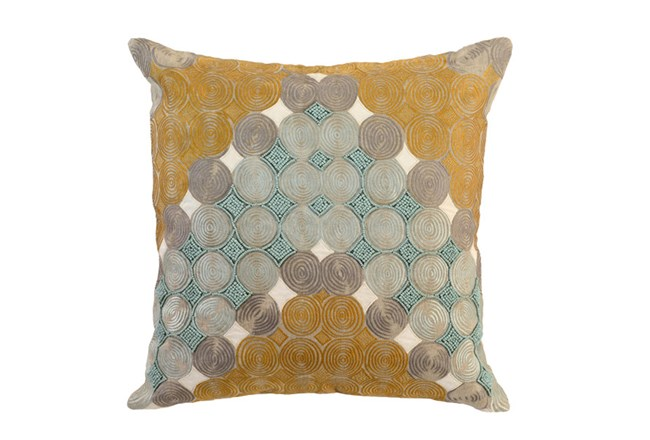 Accent Pillow-Aqua And Mustard Circles 22X22 - 360