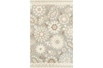 60X96 Rug-Tinley Stylized Floral Grey