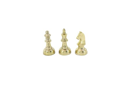 3 Piece Set Gold Metal Chess