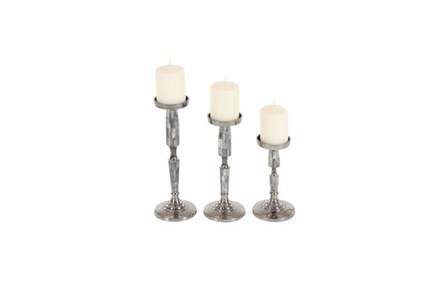 3 Piece Set Silver Metal Inlay Candleholder