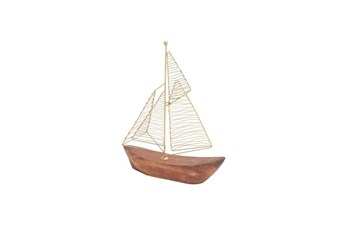 13 Inch Gold Metal Wood Boat