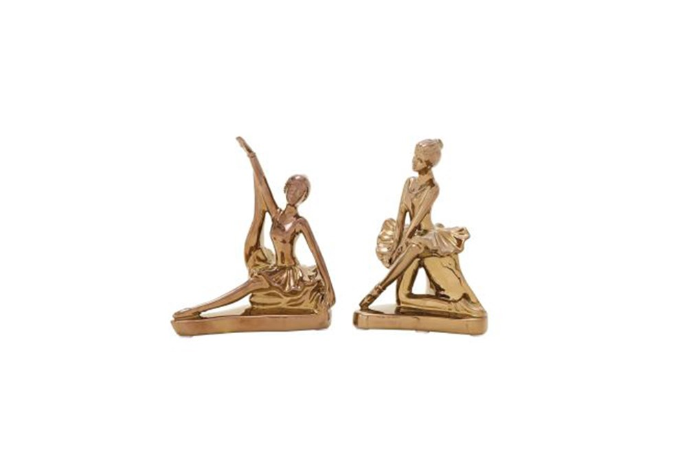 Set Of 2 Gold Ballerina Sculpture