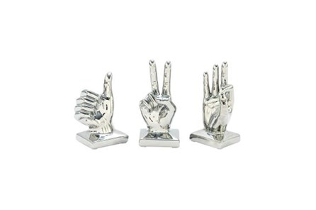 3 Piece Set Silver Hands Sculpture