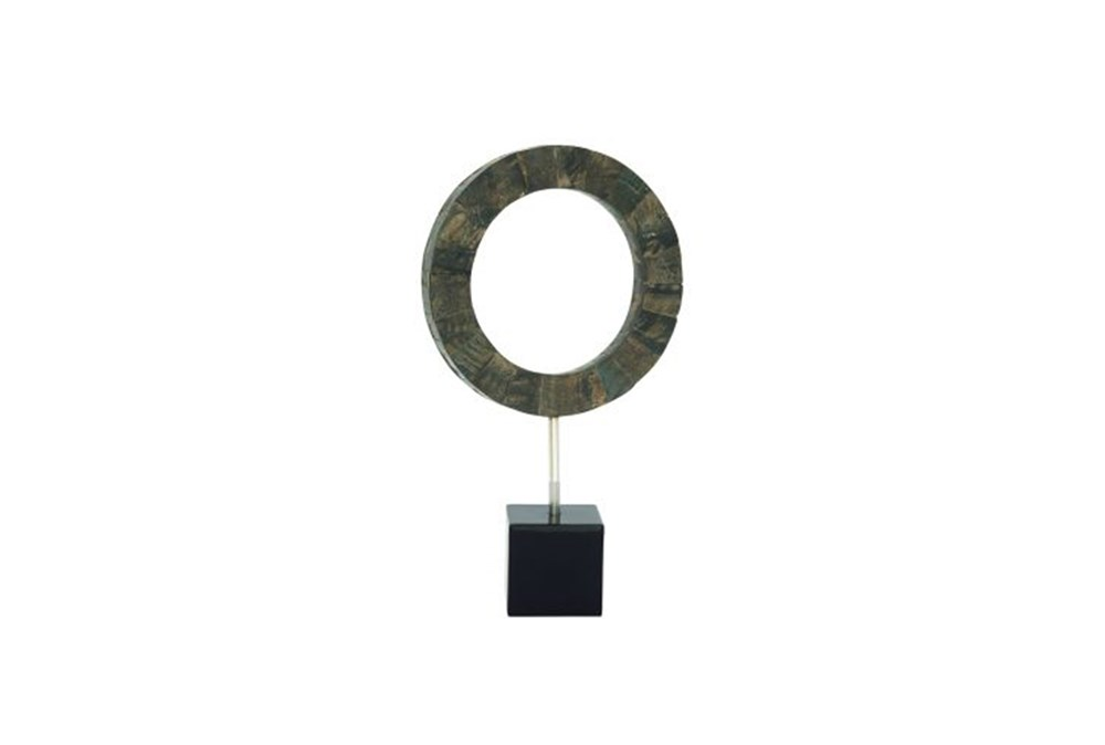 19 Inch Black Circle Resin Sculpture