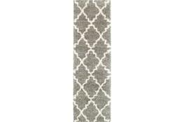 27X90 Rug-Beverly Shag Quatrefoil Grey