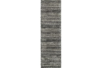 27X90 Rug-Beverly Shag Stripe Grey