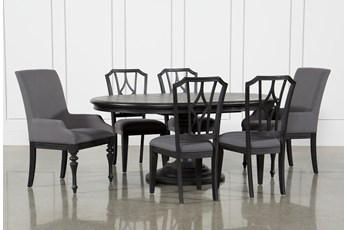 Caira Black 7 Piece Dining Set W/Arm Chairs & Diamond Back Chairs