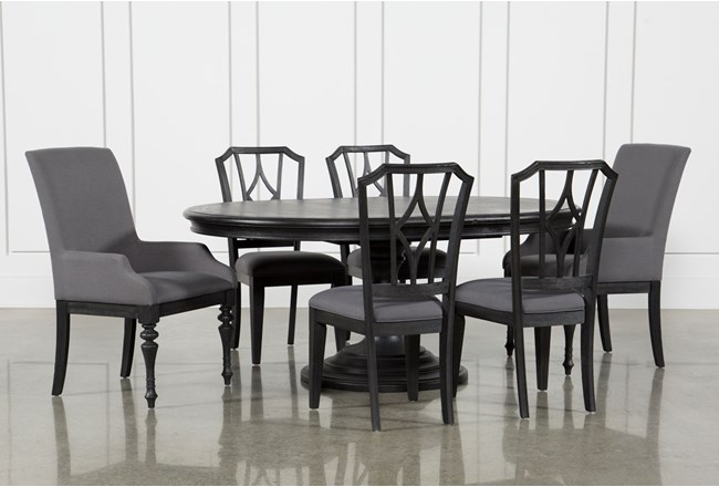 Caira Black 7 Piece Dining Set W/Arm Chairs & Diamond Back Chairs - 360