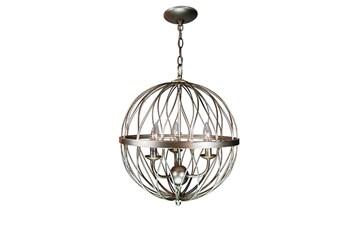 Pendant-Lattice Globe Silver 3-Light