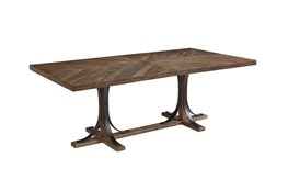 Magnolia Home Shop Floor Dining Table With Iron Trestle By Joanna Gaines