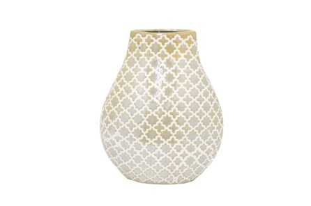 10 Inch Gold And White Vase