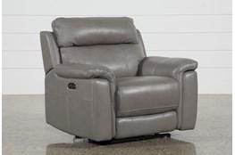 Dino Grey Leather Power Recliner W/Power Headrest & Usb