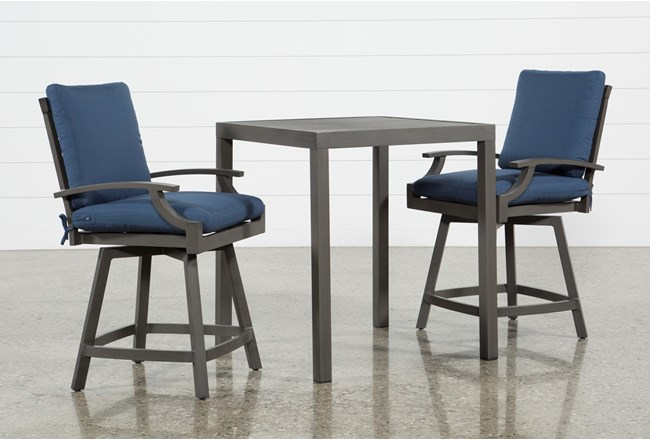 Martinique Outdoor 3 Piece Pub Set With Navy Counter Stools - 360