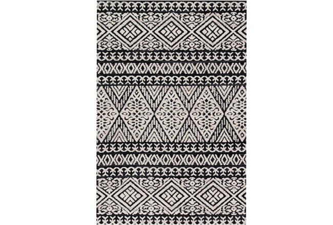 93X117 Rug-Magnolia Home Lotus Diamond Black/Silver By Joanna Gaines - 360