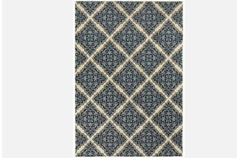 63X90 Rug-Flower Diamonds Blue
