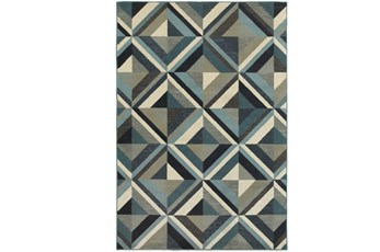 118X154 Rug-Retro Diamonds Blue