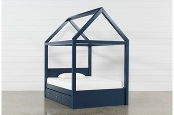 Taylor Navy Full Canopy House Bed With Trundle