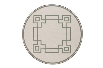 105 Inch Round Outdoor Rug-Greek Key Border Sage