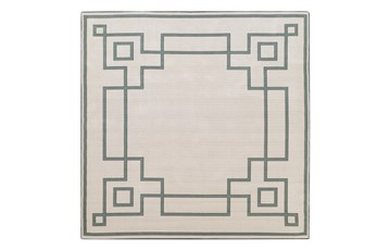105X105 Square Outdoor Rug-Greek Key Border Sage
