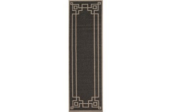 27X93 Outdoor Rug-Greek Key Border Black