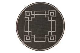 63 Inch Round Outdoor Rug-Greek Key Border Black