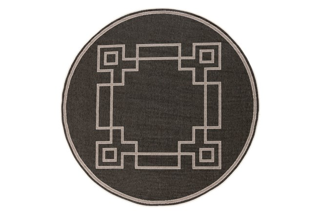 105 Inch Round Outdoor Rug-Greek Key Border Black - 360