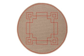 87 Inch Round Outdoor Rug-Greek Key Border Natural/Poppy