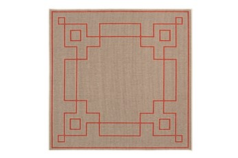 105X105 Square Outdoor Rug-Greek Key Border Natural/Poppy