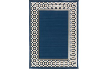 47X63 Outdoor Rug-Fretwork Border Navy