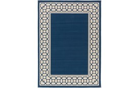 63X87 Outdoor Rug-Fretwork Border Navy