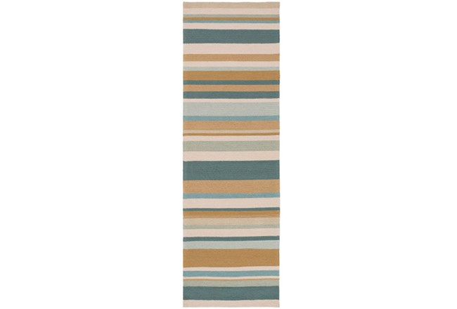 30X96 Outdoor Rug-Montego Stripe Blue/Camel - 360
