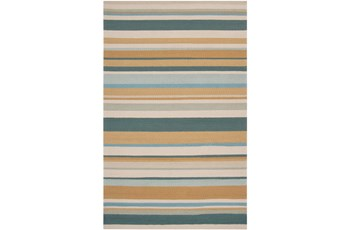 36X60 Outdoor Rug-Montego Stripe Blue/Camel