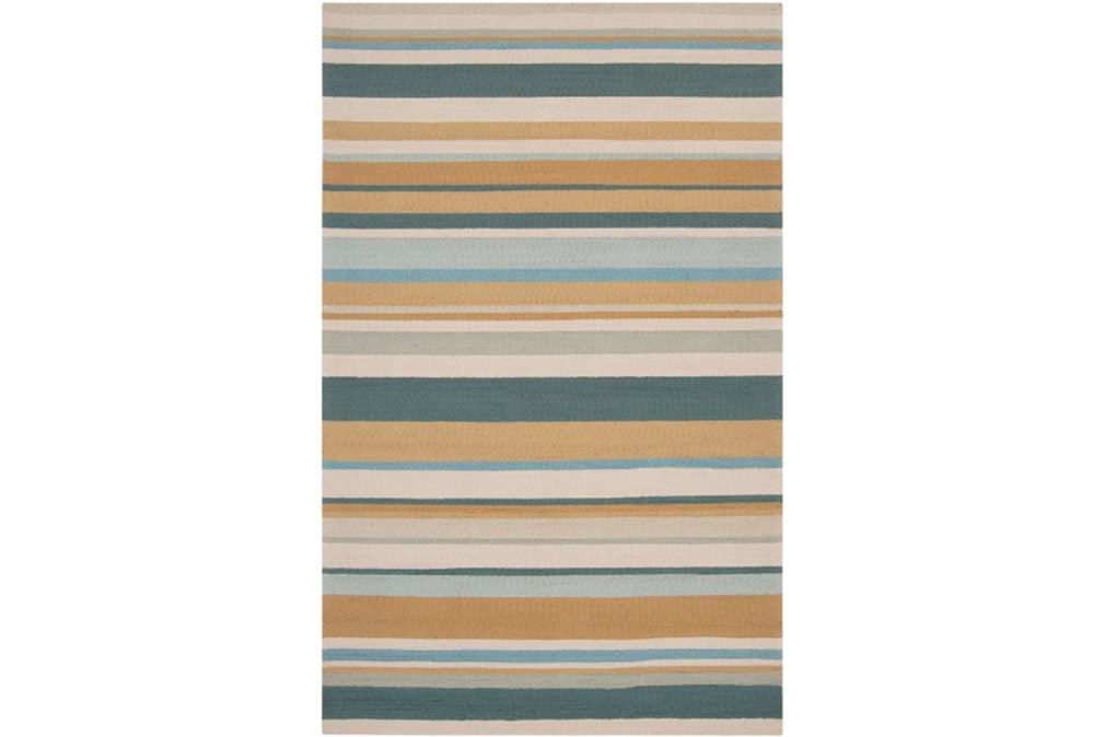 60X96 Outdoor Rug-Montego Stripe Blue/Camel