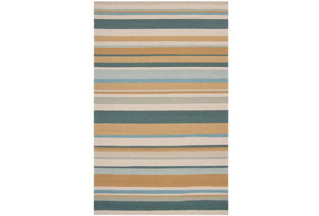 108X144 Outdoor Rug-Montego Stripe Blue/Camel - 360