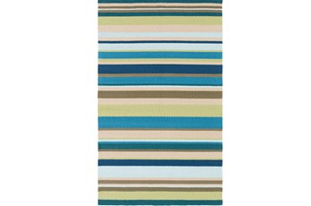 60X96 Outdoor Rug-Montego Stripe Blue/Green